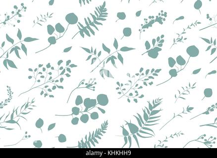 Seamless pattern of Eucalyptus palm fern different tree, foliage natural branches, blue leaves, herbs, berries tropical - Stock Photo