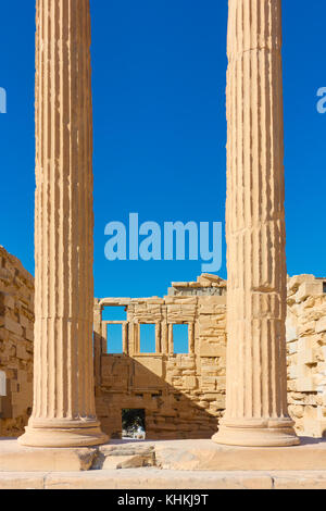 Ancient marble columns of The Erechtheion temple in Acropolis, Athens, Greece - Stock Photo