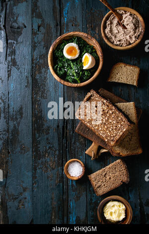 Breakfast with rye bread - Stock Photo