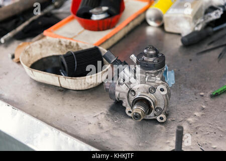 fuel pump on repairs, close up - Stock Photo