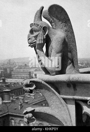 Close up of a leering gargoyle from the Cathedral of Notre-Dame, picture by Donald McLeish, Paris, France, July, - Stock Photo