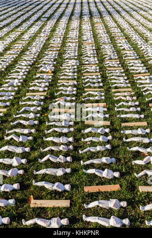 Shrouds of the Somme: by Rob Heard,  Somerset, England, remembering the 72,397 British WW1 Somme battlefield casualties - Stock Photo