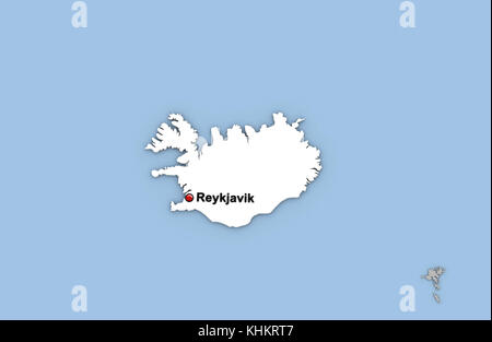 Reykjavik iceland city map stock vector art illustration vector abstract 3d render of map of iceland highlighted in white color and location of the capital gumiabroncs Images