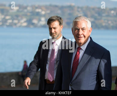 U.S. Secretary of State Rex Tillerson makes his way to greet staff and their families at the U.S. Mission to the - Stock Photo