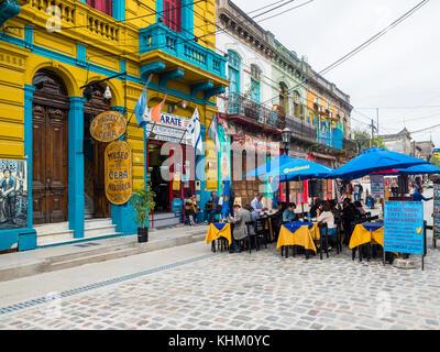 Restaurant in the pedestrian precinct El Caminito, La Boca district, Buenos Aires, Argentina - Stock Photo
