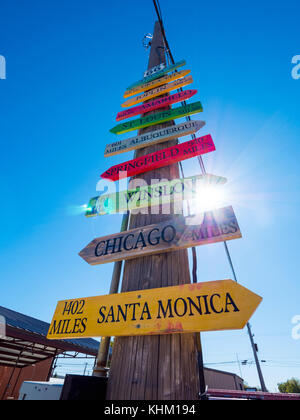 Direction signs to famous cities at Route 66 - STROUD / OKLAHOMA - OCTOBER 16, 2017 - Stock Photo