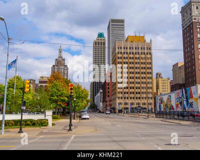 Street view in Tulsa Downtown - TULSA / OKLAHOMA - OCTOBER 17, 2017 - Stock Photo