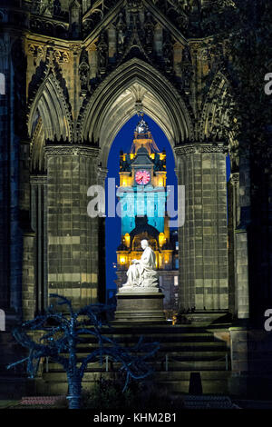 The Scott Monument and Balmoral Hotel, Edinburgh, Scotland, Great Britain - Stock Photo