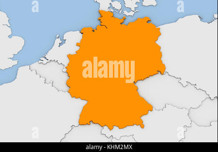 Abstract 3d render of map of germany highlighted in white color and 3d render of abstract map of germany highlighted in orange color stock photo gumiabroncs Choice Image