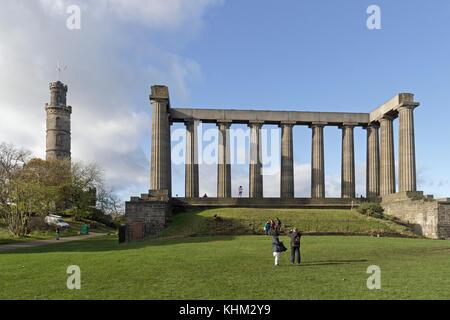 Nelson Monument and National Monument of Scotland, Carlton Hill, Edinburgh, Scotland, Great Britain - Stock Photo