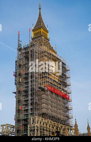 Scaffolding around the Elizabeth Tower, more commonly known as Big Ben, during the extensive restoration and repairs - Stock Photo