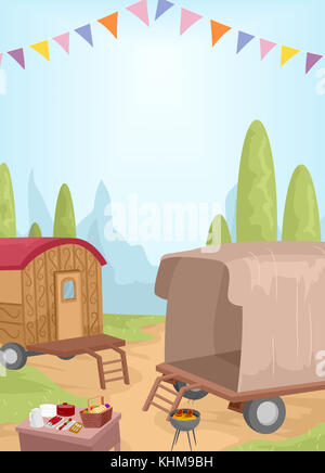Landscape Illustration Featuring a Caravan Being Used for an Outdoor Picnic - Stock Photo