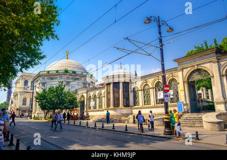 Sultan Mahmut II complex with cemetery and mosque, Istanbul, Turkey on August 18, 2015. - Stock Photo