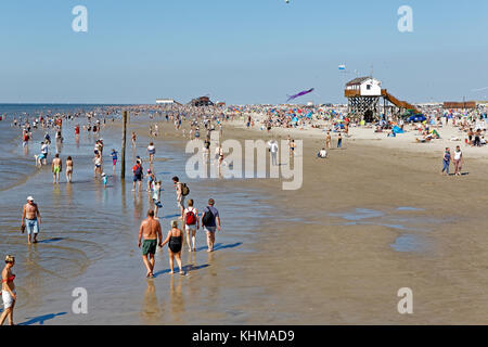 Beach, St Peter-Ording, North Frisia, Schleswig-Holstein, Germany, - Stock Photo