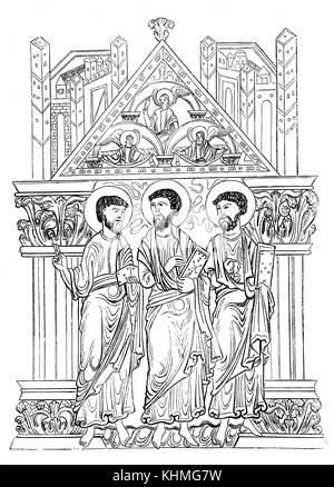 An illustration of saints from the ancient 'Benedictional of the See of Winchester' produced  at the behest of the - Stock Photo