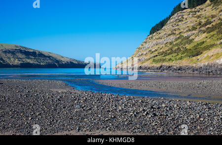 Sights along the beach in a secluded Bay, South Island, New Zealand: - Stock Photo