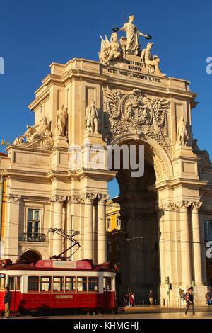 Arco da Rua Augusta in Praça do Comercio in Lisbon - Stock Photo