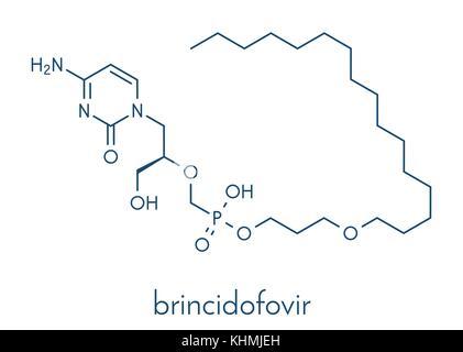 Brincidofovir antiviral drug molecule. Prodrug of cidofovir. Skeletal formula. - Stock Photo