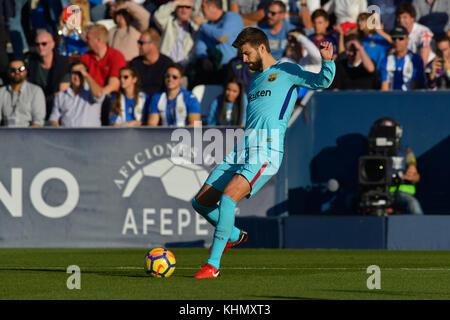 Pique during the match between CD Leganes vs. FC Barcelona, week 12 of La Liga at Butarque stadium, Leganes, Madrid, - Stock Photo