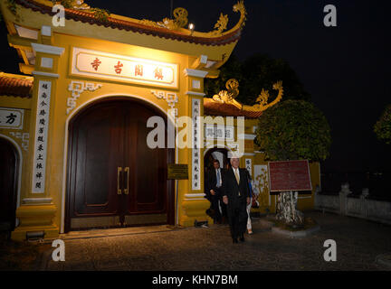 U.S. Secretary of State Rex Tillerson visits Tran Quoc pagoda, the oldest Buddhist temple in Hanoi, on November - Stock Photo