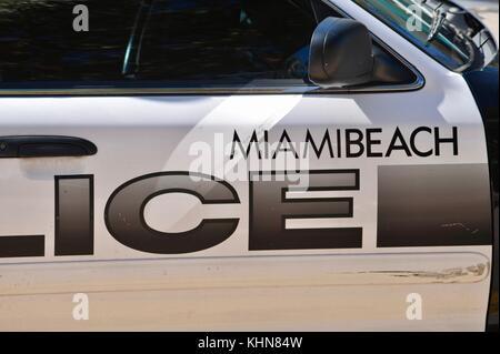 Miami Beach Police squad car on beach at South Beach, Miami, Florida, USA. - Stock Photo