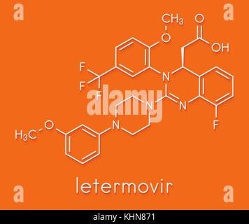 letermovir cytomegalovirus (CMV) drug molecule. Skeletal formula. - Stock Photo