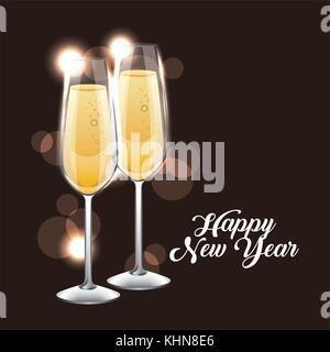 happy new year pair of champagne glass cheers stock photo