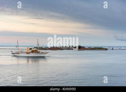 Her Danish Majesty Yacht Dannebrog in Copenhagen harbour - Stock Photo