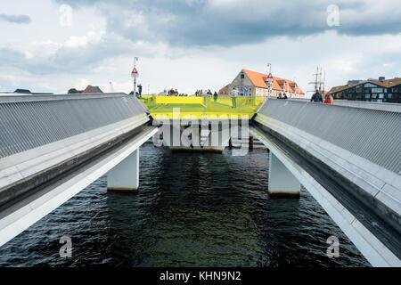 Inner Harbour Bridge in Copenhagen for cyclists and pedestrians - Stock Photo