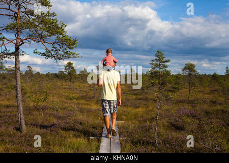 Man walking away from camera over amazing summer landscape with a toddler sitting on his shoulders - Stock Photo