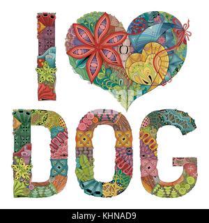 Words I LOVE DOG. Vector decorative zentangle object - Stock Photo