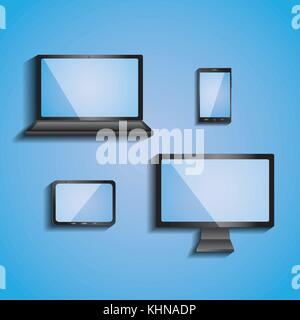 electronic devices with blank screens computer monitor smartphone tablet and laptop - Stock Photo