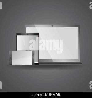 smartphone tablet and laptop icon gadgets electronic - Stock Photo