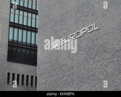 The Hague, Netherlands - November 4, 2017: The Europol wording on the head office in the Hague. - Stock Photo
