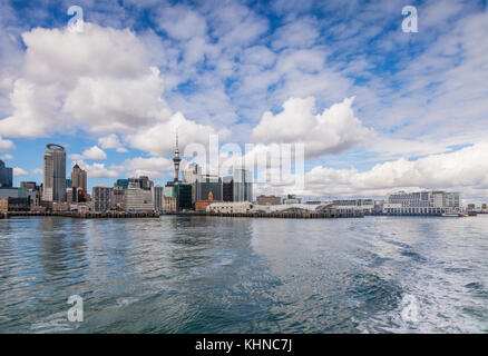 Auckland skyline from the sea, New Zealand - Stock Photo