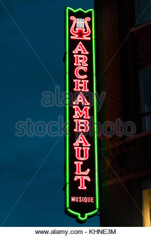 Archambault Musique (music) sign in the corner of an old building. Archambault is the largest music retailer in - Stock Photo