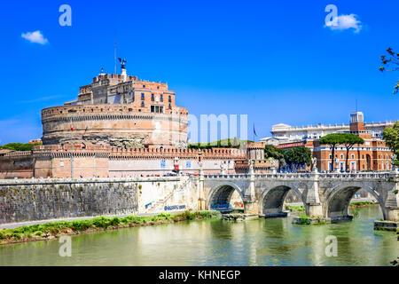 Ponte Sant'Angelo bridge crossing the river Tiber,Rome,Italy,Europe - Stock Photo