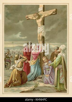 Jesus dies on the cross (Jesus stirbt am Kreuz) - Stock Photo