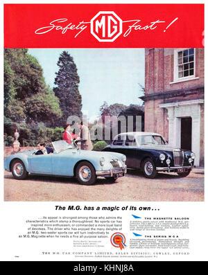 1958 British advertisement for MG motor cars. - Stock Photo