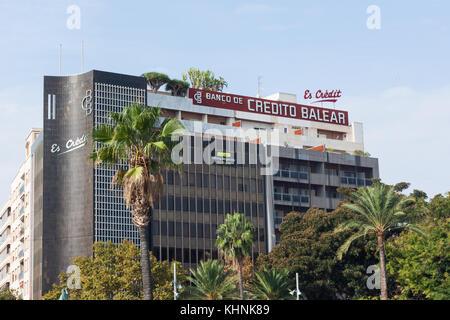 Credito Balear Bank (Banco de Credito Balear) on Plaza de Espana in Palma, Majorca - Stock Photo