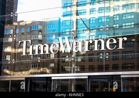 An entrance to the Time Warner Building at Columbus Circle in New York City - Stock Photo
