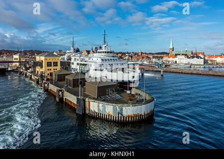 Scandlines Ro-Ro ferry terminal in Elsinore harbour Elsinore Denmark Europe with car and passenger ferry Hamlet - Stock Photo