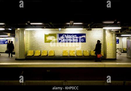 Paris, France. Paris Metro - Chatelet Les Halles - people on the platform - Stock Photo