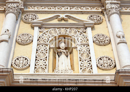 Saint on the facade of cathedral in Comayagua, Honduras - Stock Photo
