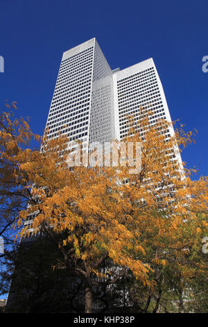 Canada, Quebec, Montreal, Place Ville Marie, autumn foliage, - Stock Photo