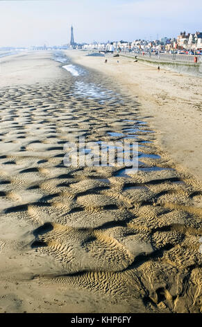 Sand patterns on beach at Blackpool seaside resort. - Stock Photo