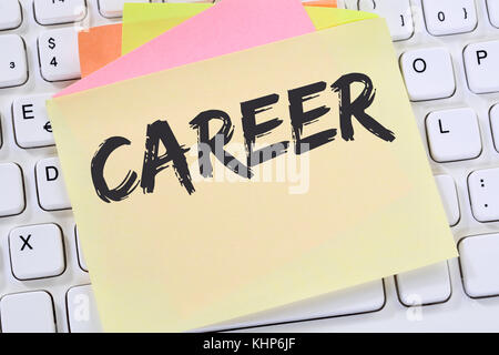 Career opportunities goals success and development note paper business concept computer keyboard - Stock Photo