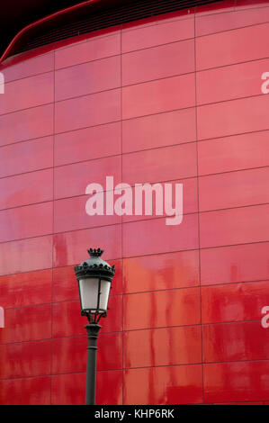 Detail of the facade. Reina Sofía Art Center National Museum. Madrid, Spain. - Stock Photo