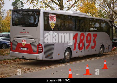 Mainz, Germany - November 04, 2017: The team bus of the football club VFB Stuttgart with coats of arms at a game - Stock Photo