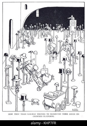 Railway Porter training, manoeuvring loads on crowded platforms, Cartoon by William Heath Robinson - Stock Photo